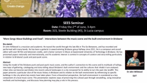 SEES Seminar June 2nd on the built environment and musicscenes